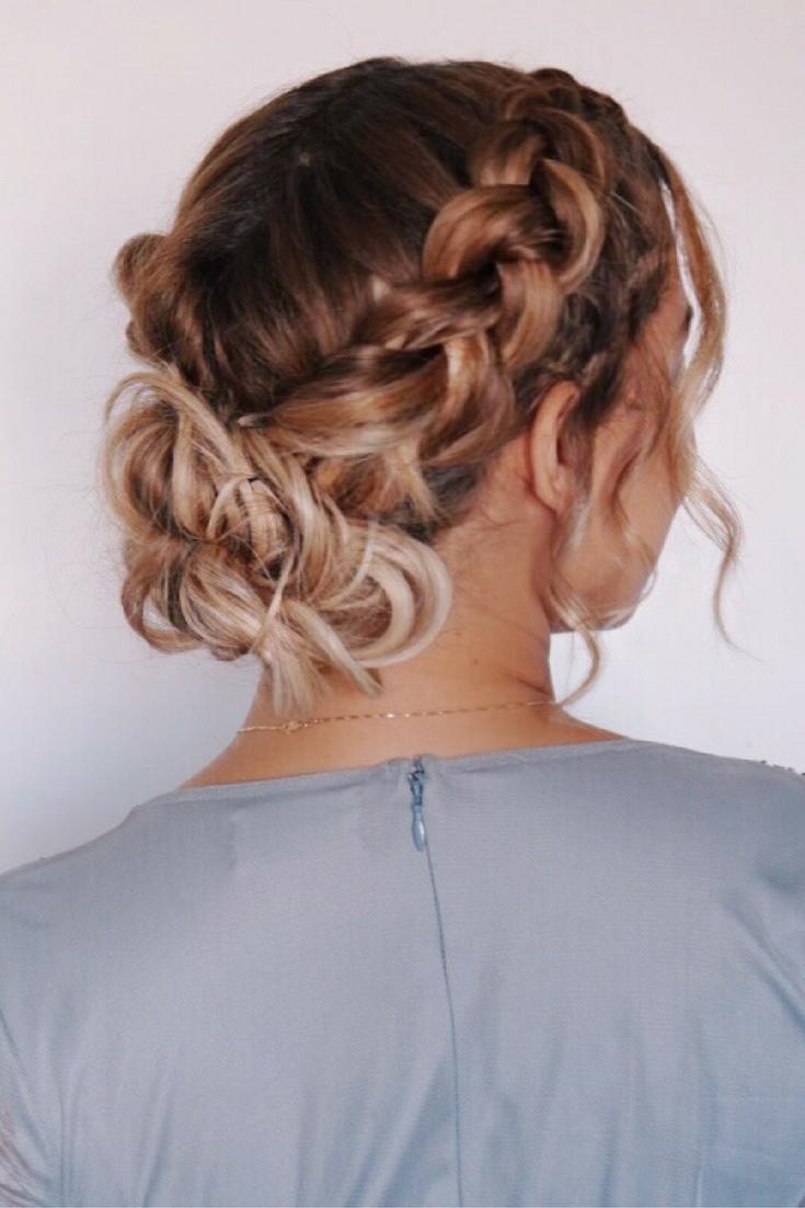 Dutch Braid Updo Holiday Hairstyle Prom Wedding Bridal Boho