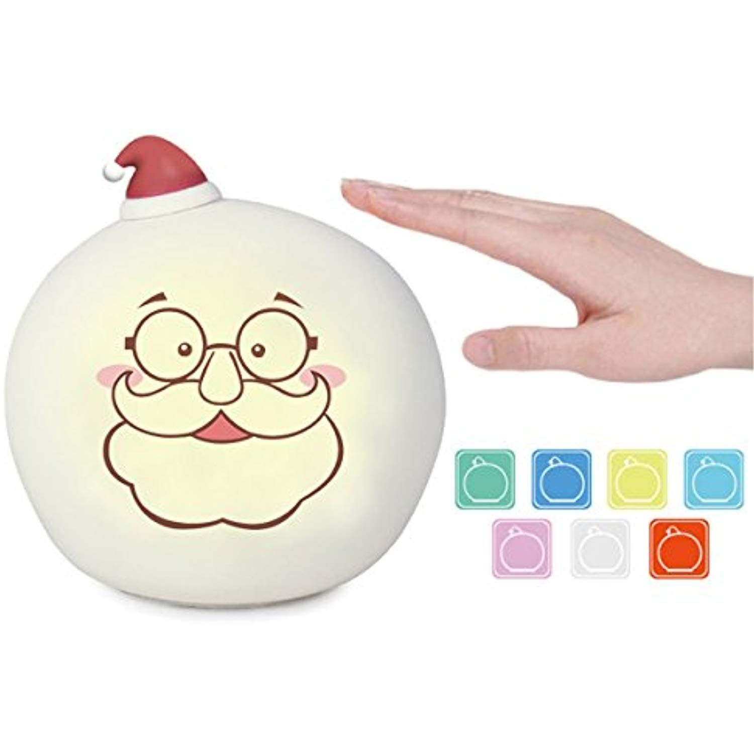 Christmas Led Night Lights For Kids Santa Claus Silicone Pat Light Rechargeable Senstive Control Dimmable 7 Color Brea Led Night Light Night Light Nursery Lamp