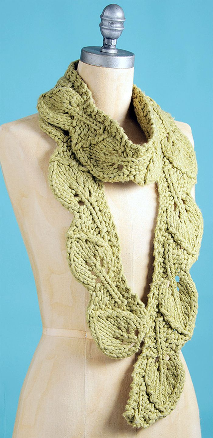 Free Knitting Pattern for Leaf Scarf - Lace scarf of knit leaves ...