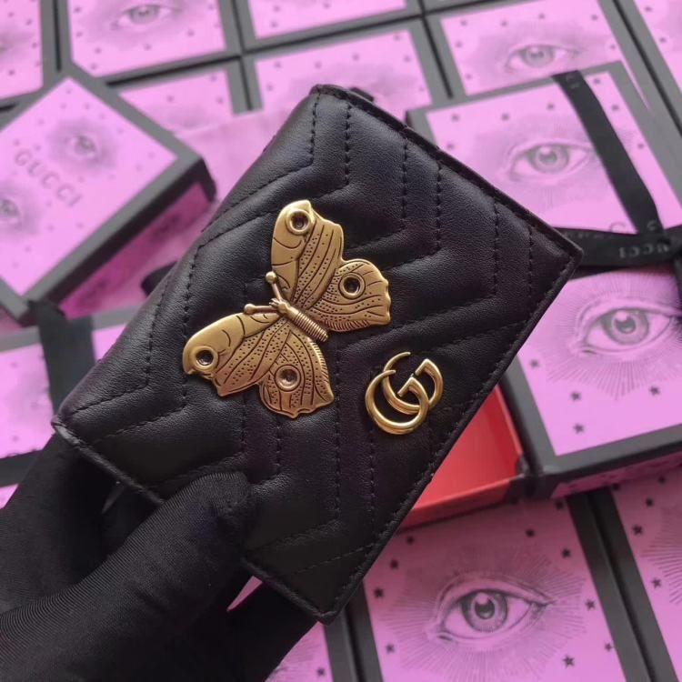 53dceeaaa99f GG new style mini Marmont animal studs wrist pouch black small wallet  466492 size:11x9x3cm WL1 watsapp:+8615503787453