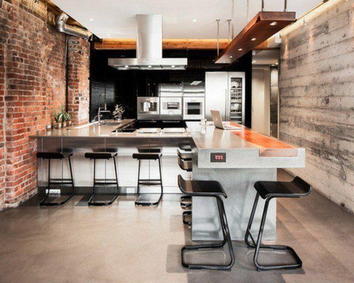 nice Idée relooking cuisine - bel exemple industrielle en noir et