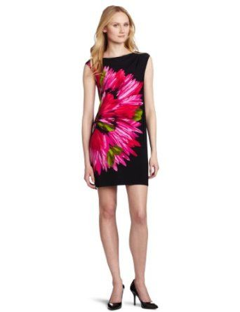 I like the huge pink floral print on black.     Maggy London Women's Cap Sleeve Matte Jersey Dress $59