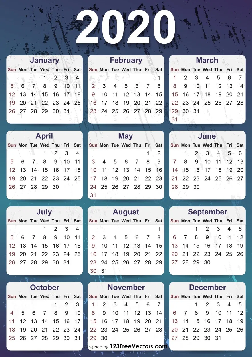 2020 Yearly Calendar Template Yearly Calendar Template Calendar Printables Printable Yearly Calendar
