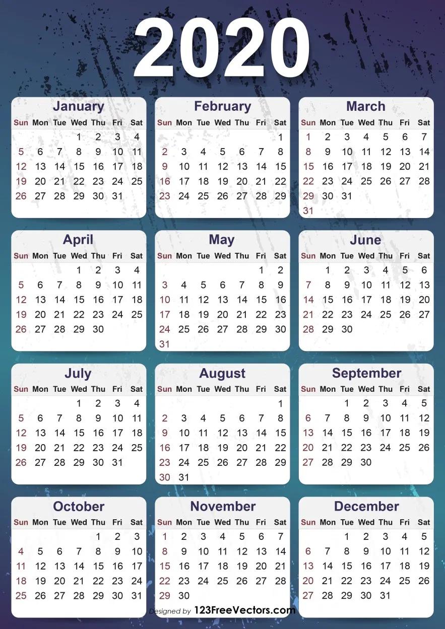 2020 Yearly Calendar Template Yearly Calendar Template Calendar Printables Printable Yearly Calendar