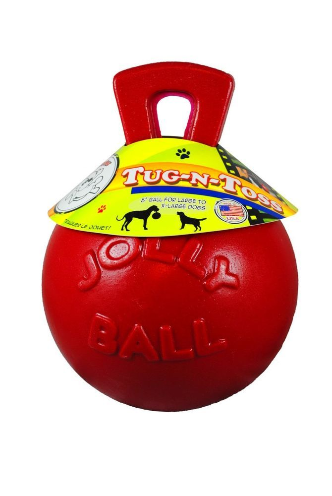 Jolly Pets Red Tug N Toss Jolly Ball 10 Tough Large Dogs Original