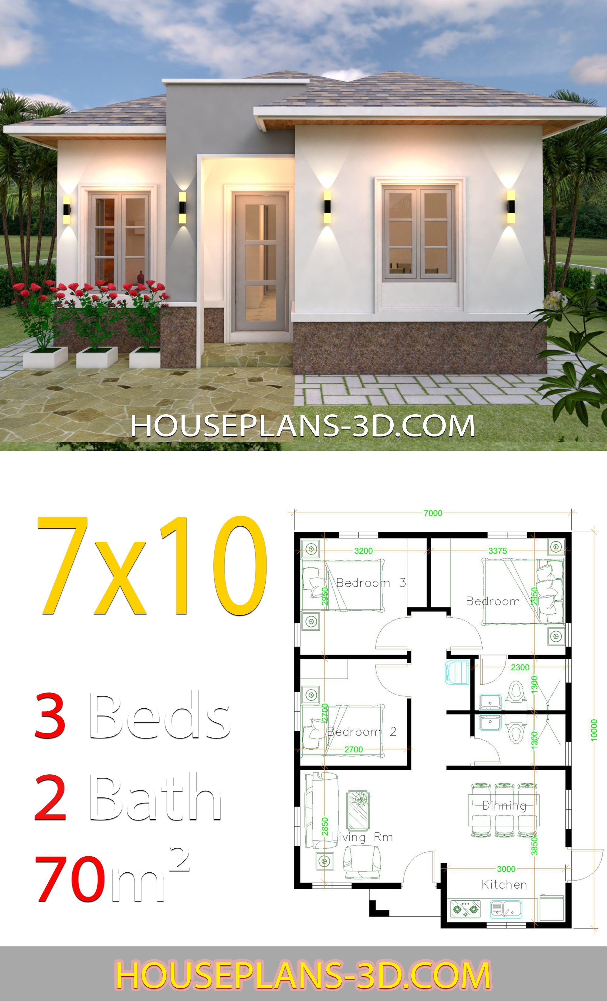 House Plans 7x10 With 3 Bedrooms House Plans 3d In 2020 House Plans Flat Roof House Small House Design Plans