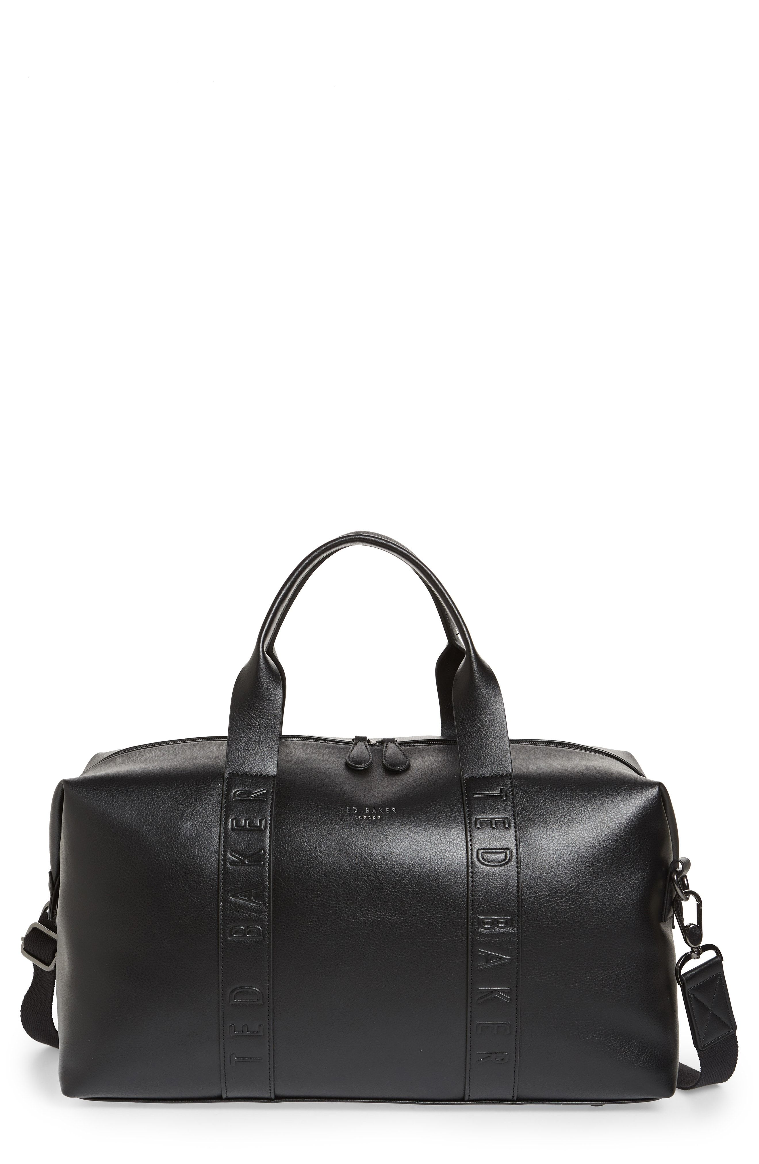 81c82a0ee6294 TED BAKER DEBOSSED FAUX LEATHER DUFFEL BAG - BLACK.  tedbaker  bags  leather