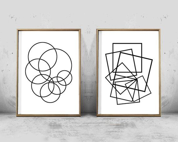 Geometric Art Prints Set Circles Squares Minimalist Art