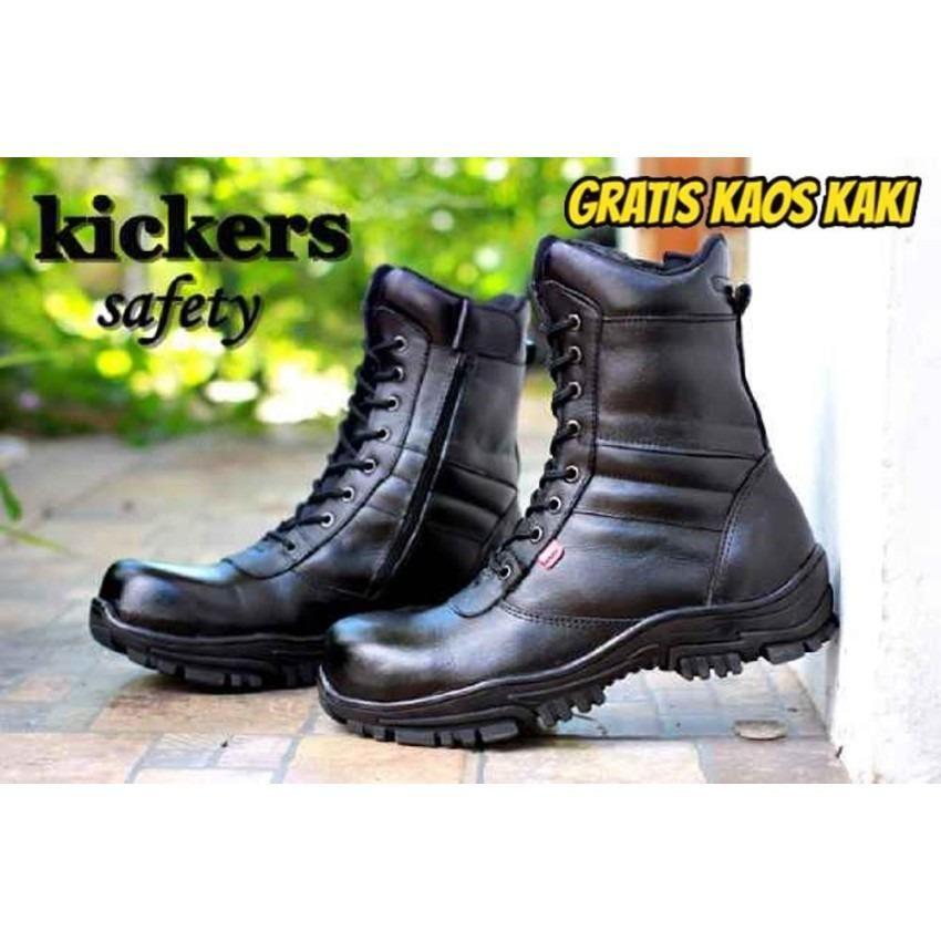 Sepatu Boots Kickers Pria Kulit Pdl Pdh Tni Polisi Security Satpam