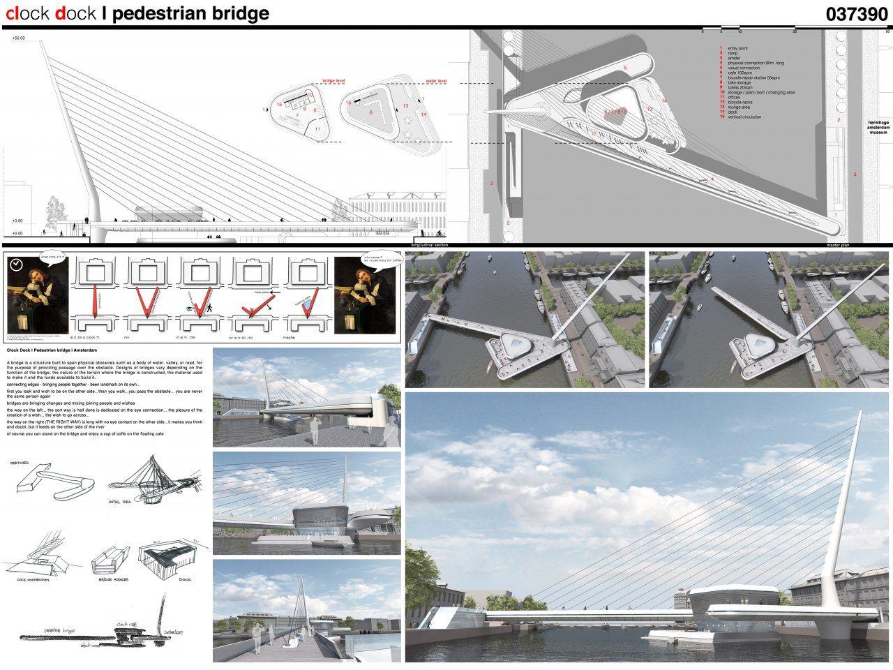 A3n amsterdam iconic pedestrian bridge competition for Design bridge amsterdam