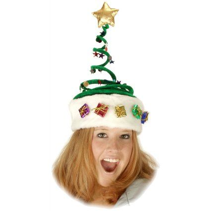 9995ed06c60ca Amazon.com   Deluxe Springy Christmas Tree Hat   Costume Headwear And Hats    Toys   Games