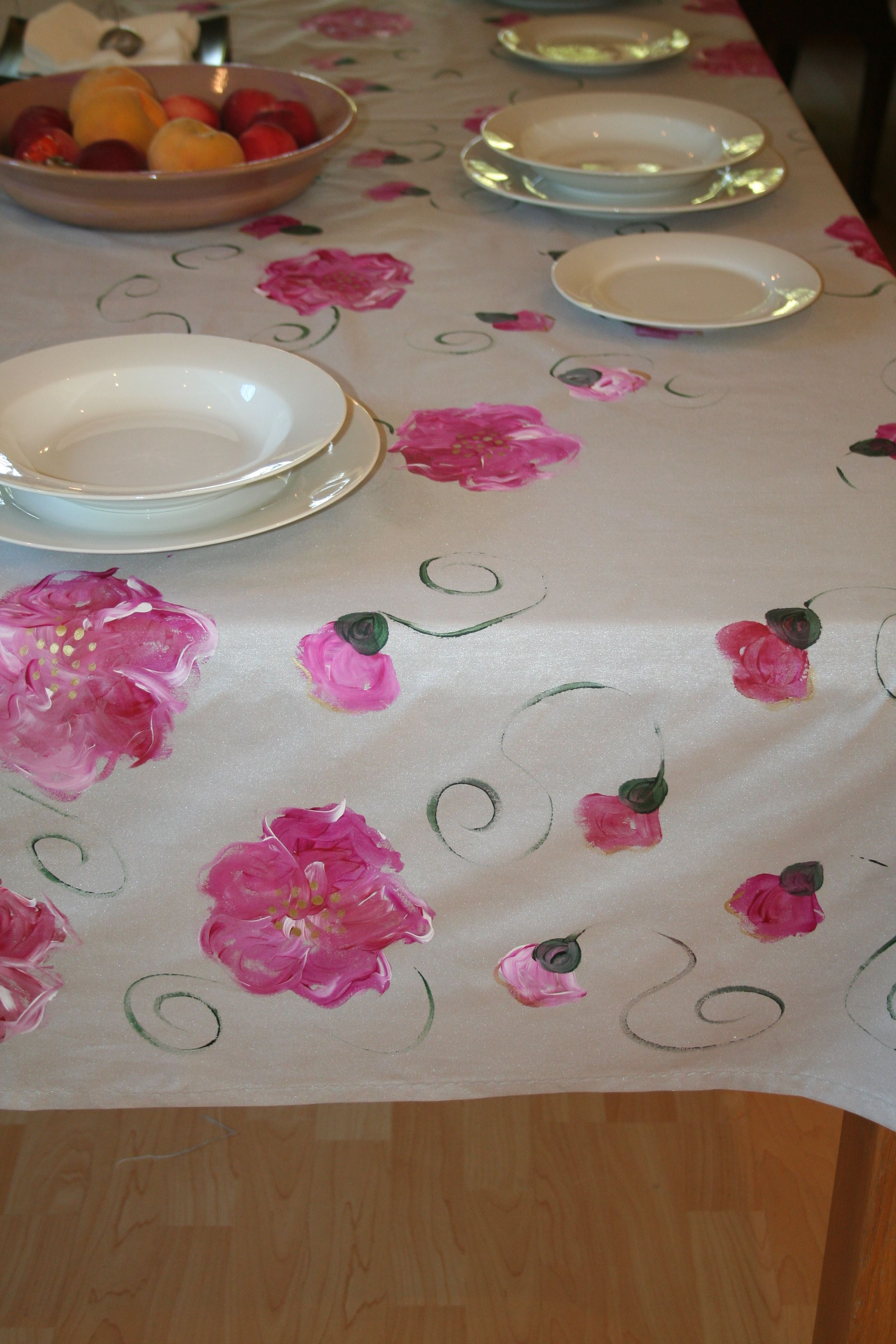 Applique designs for tablecloth - Own This Beautiful Hand Painted Tablecloth Wipe Clean Or Machine Wash On A Delicate Cycle