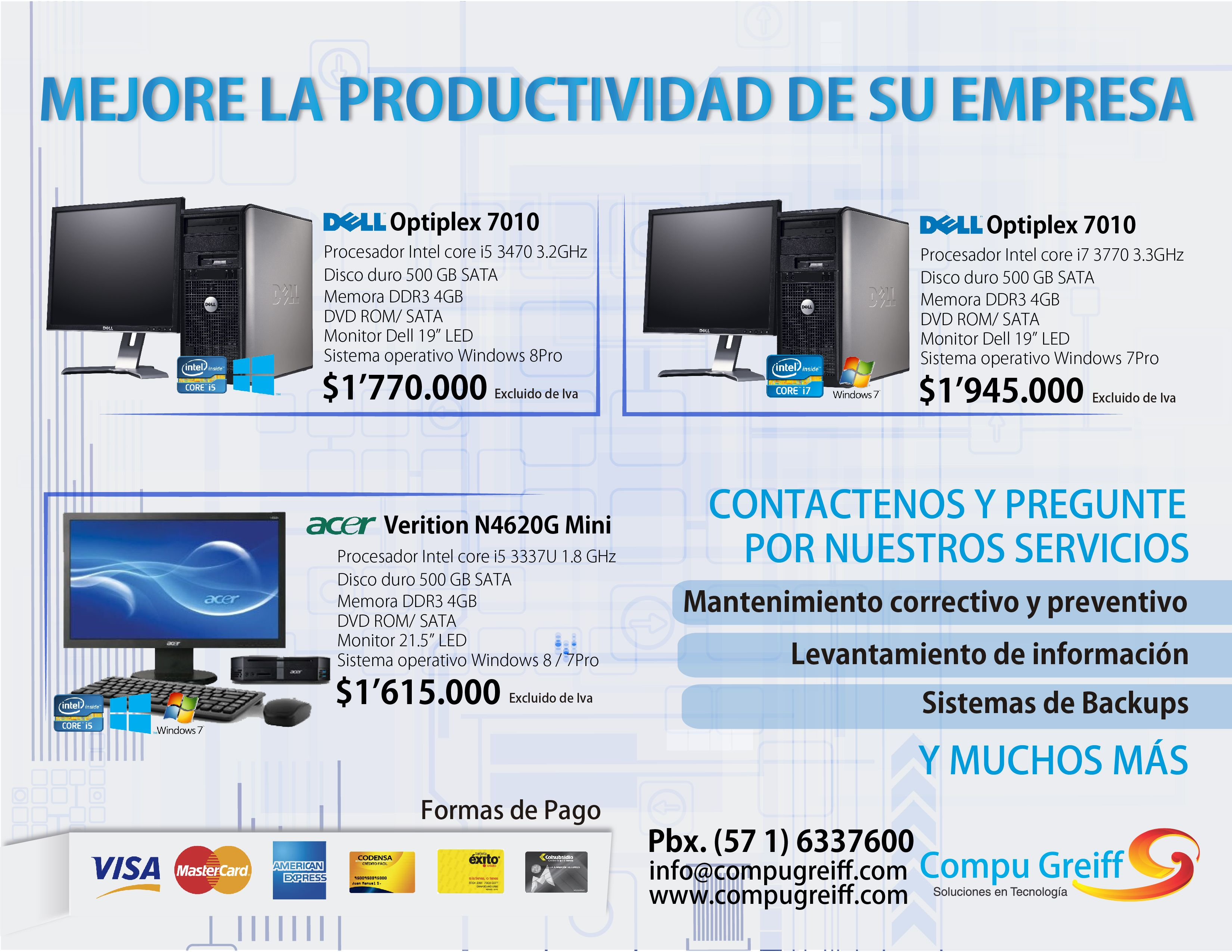 Mejore la Productividad de su Empresa, contamos con Computadores de escritorio con las mejores configuraciones y marcas Dell ACER