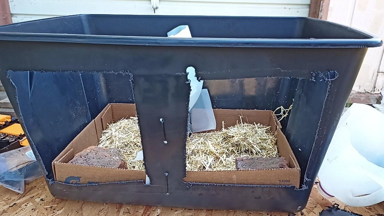 Double diy chicken egg box laying plastic tote for two