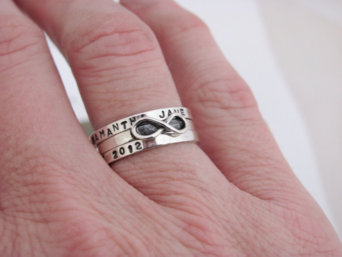 Infinity ring, hand stamped personalized, skinny fit ring in ...