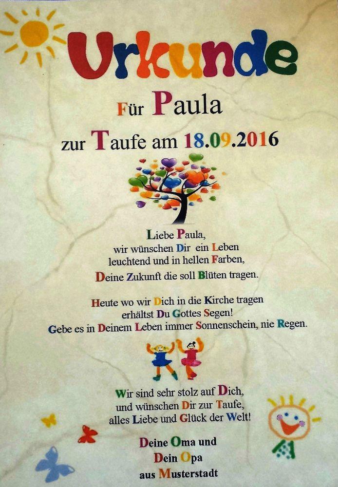 Urkunde zur Taufe | URKUNDEN | Pinterest | Urkunde, Zur taufe und ...