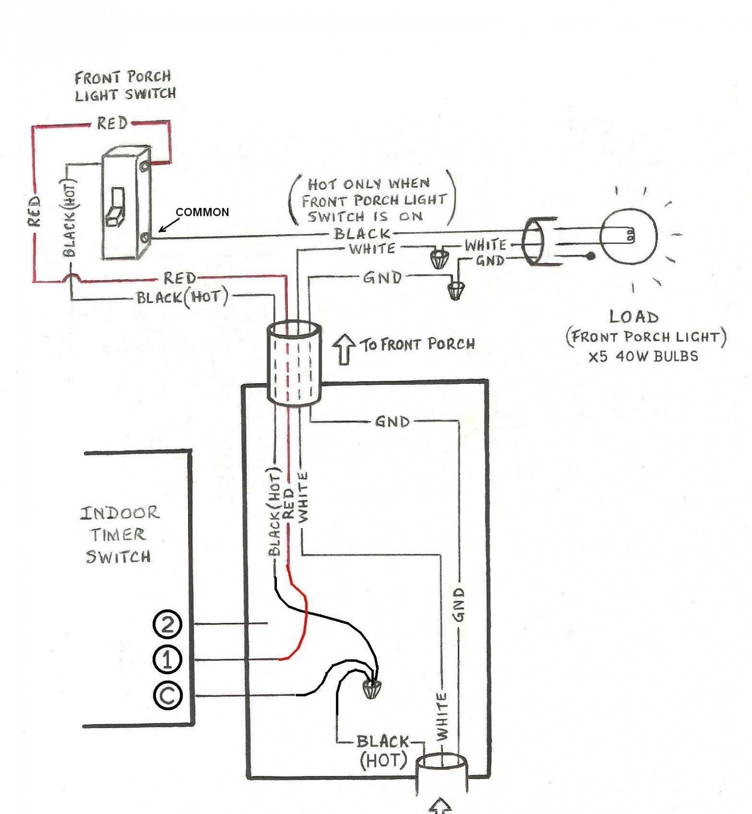 Awesome Wiring Diagram For Four Lights Diagrams Digramssample Diagramimages Wiringdiagramsample Wirin Porch Light Timer Light Switch Wiring Porch Lighting