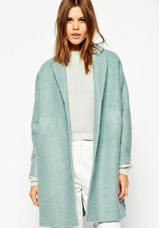 Pea Green Plain No Button Wool Coat