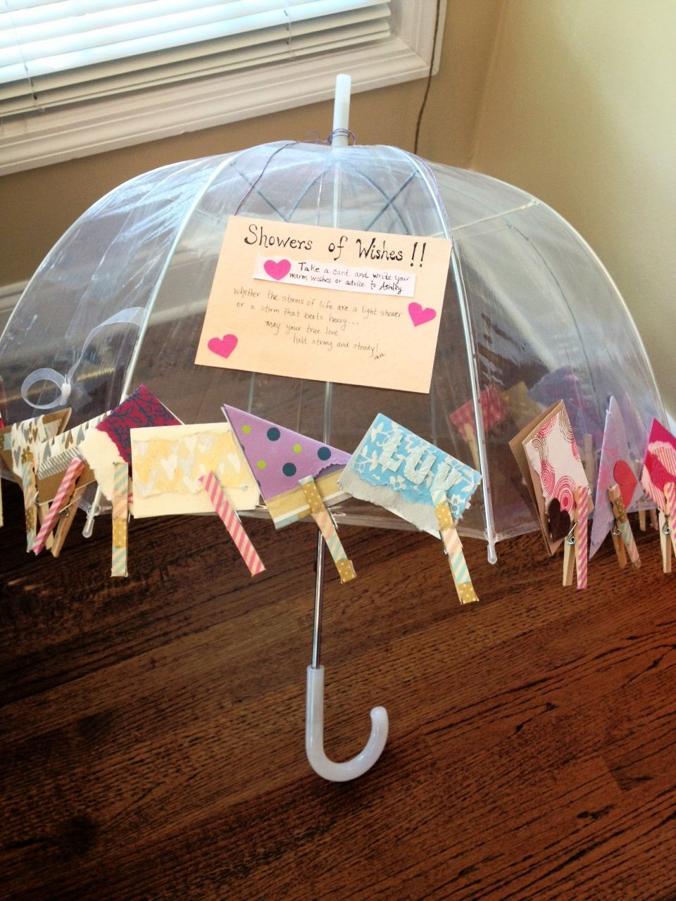 shower of wishes umbrella at the bridal shower i handmade cards to have the guest give the bride well wishes or that small tokens of advice