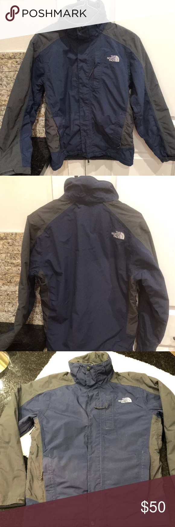 Men S The North Face Hyvent Blue And Grey Jacket Gray Jacket Jackets North Face Jacket [ 1740 x 580 Pixel ]