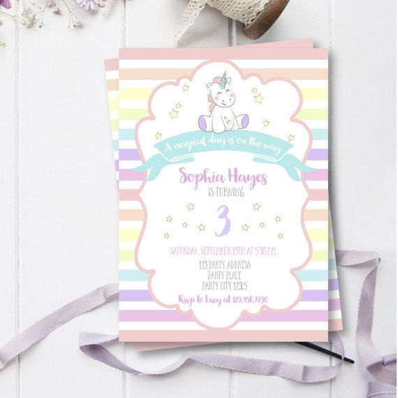 Birthday Invitations for Girls, Unicorn Party Invitations, A Magical ...