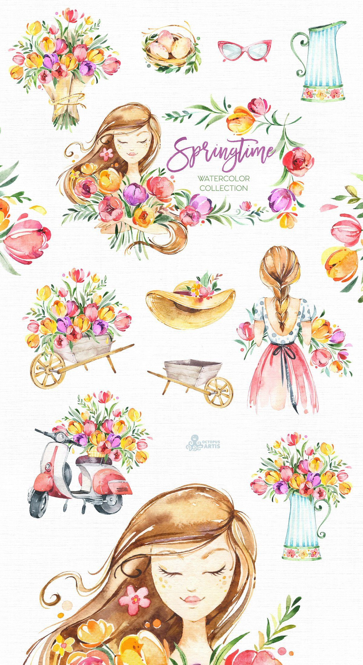Springtime Watercolor Collection Spring Illustration