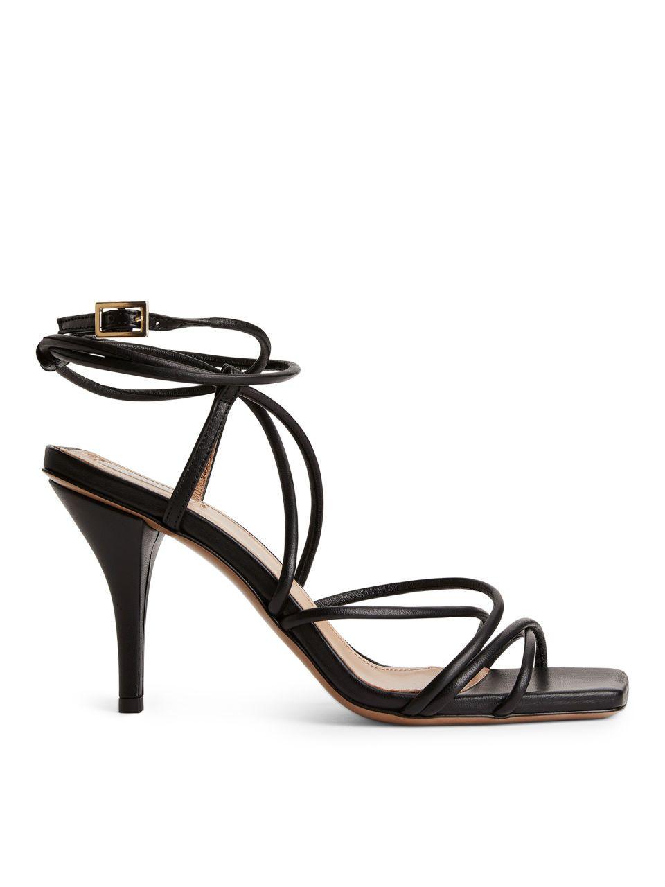 High Heel Leather Strap Sandal Black Shoes | Ankle strap