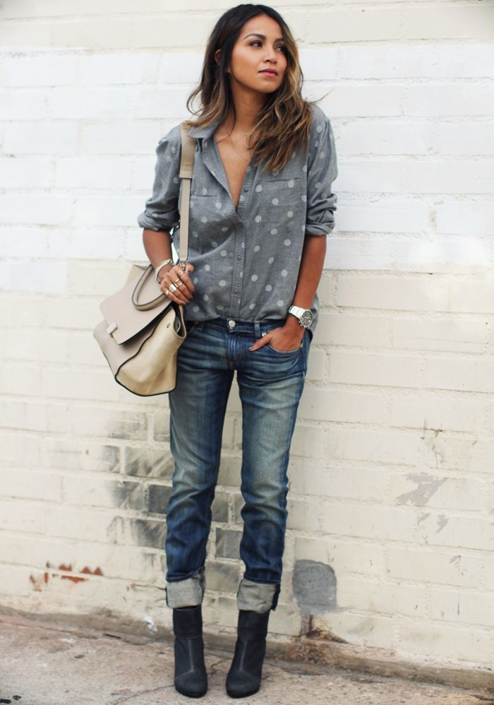 """How to wear polka dots like a grown up - go for a polka dot pattern on a chambray shirt for subtle dose of pattern that doesn't scream """"cute""""."""