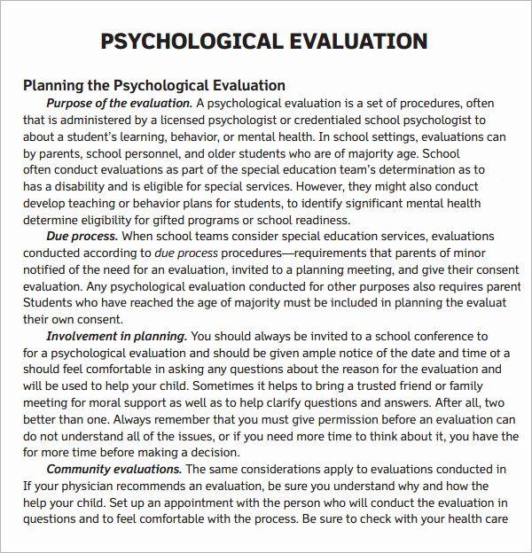 Psychiatric Evaluation form Template Unique Free 7 Sample ...