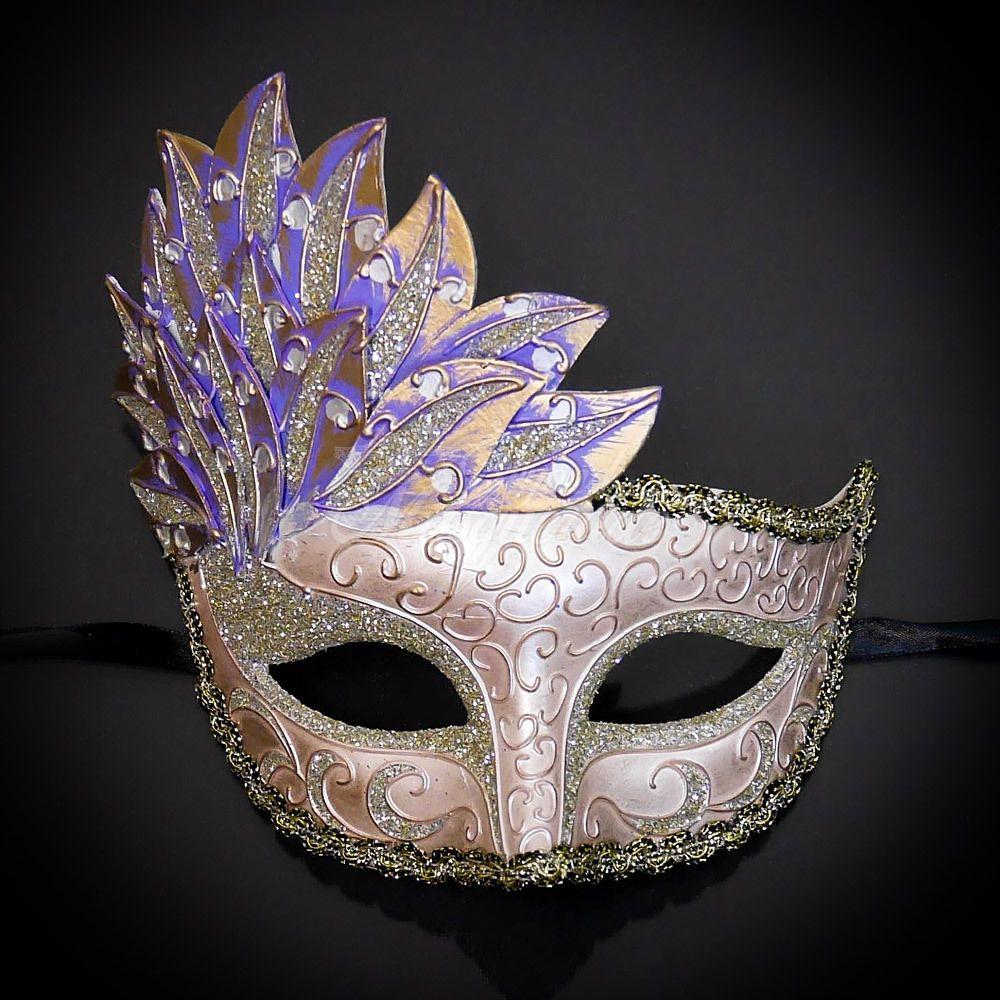 Stunning Ladies Purple /& Gold Venetian Masquerade Party Prom Carnival Eye Mask