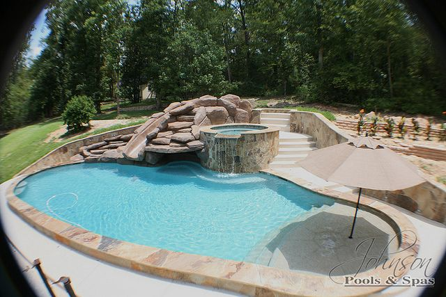 Johnson Pools Slide And Sun Shelf With Umbrella Backyard Pool Backyard Pool Designs Small Backyard Pools