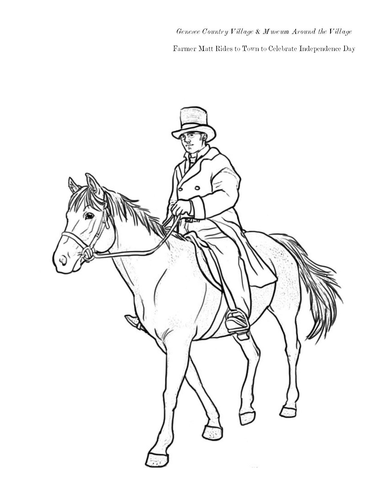 Around The Village Coloring Pages Farmer Matt Rides To Town Family Fun Museum Historical [ 1650 x 1275 Pixel ]