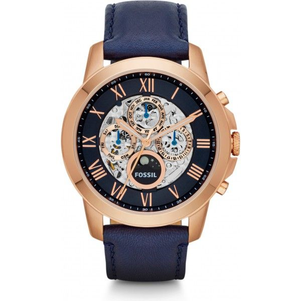 me3029 montre fossil grant montre squelette 44mm bleu fossil watches pinterest fossile. Black Bedroom Furniture Sets. Home Design Ideas