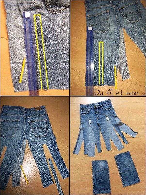 diy recycler un vieux jean en jupe recycelte denim pinterest jeans jupe und vieux jeans. Black Bedroom Furniture Sets. Home Design Ideas