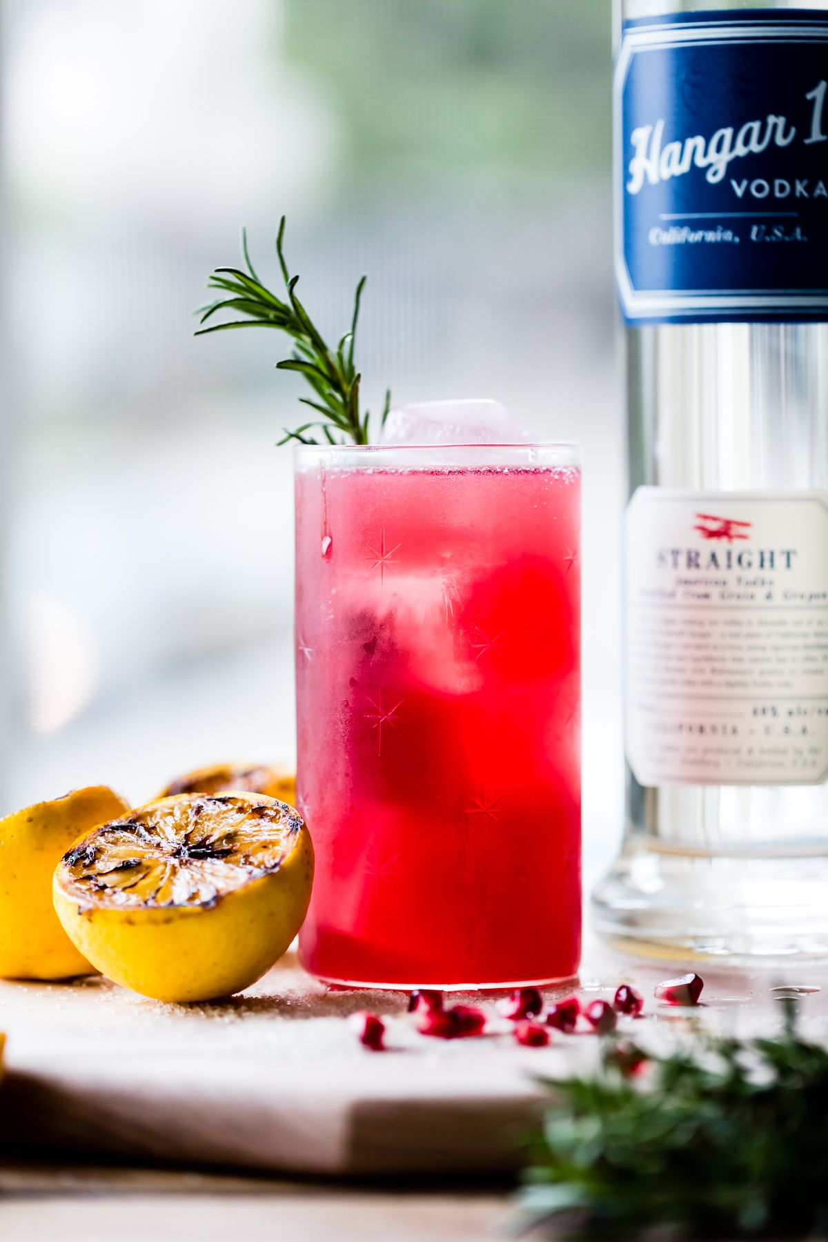 Rosemary Pomegranate Grilled Meyer Lemon Vodka Sparklers Recipe Lemon Vodka Citrus Recipes Vodka Cocktails