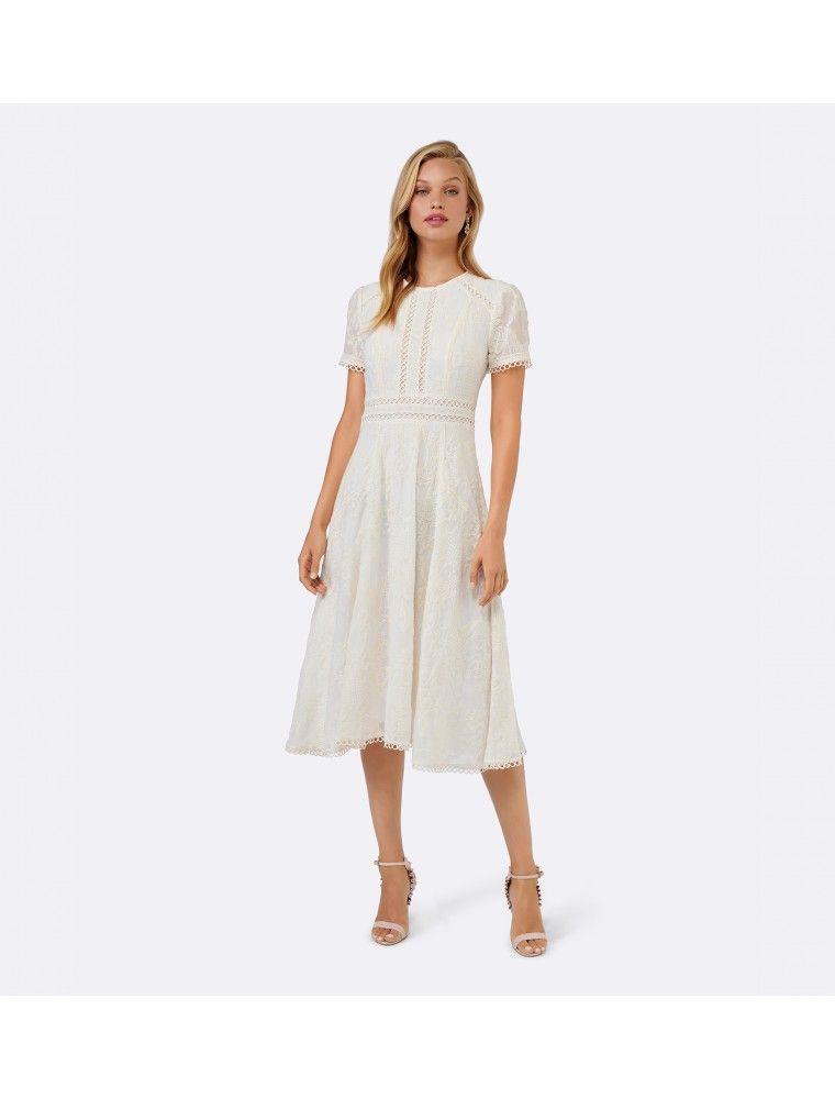 87314a83201 Eve Vintage Midi Dress Porcelain - Womens Fashion