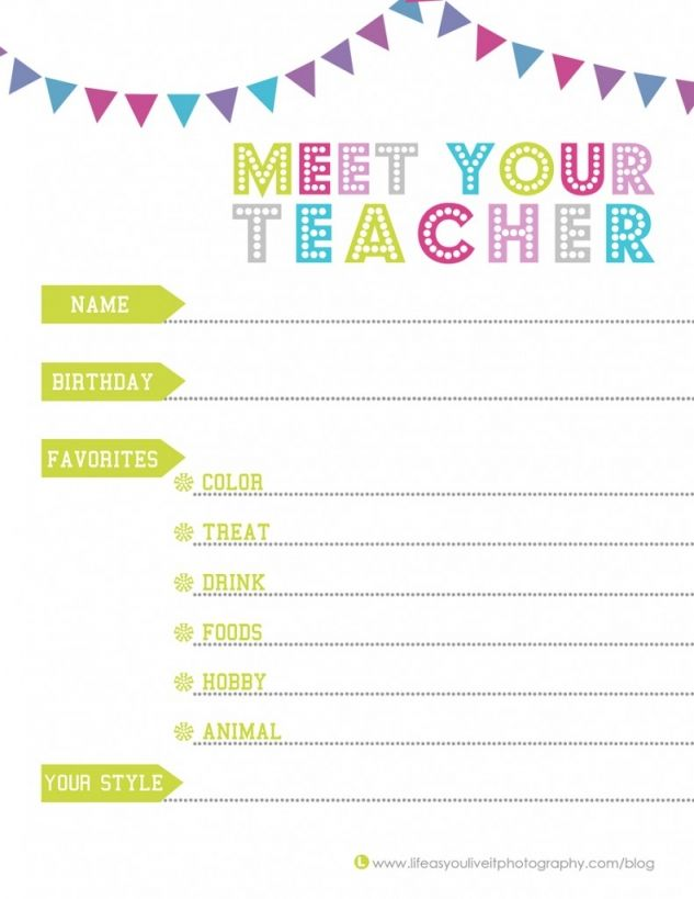 Meet your teacher get to know your child39s teacher so for Free meet the teacher template