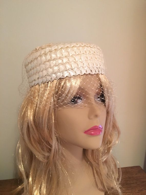 4506f84c487da Vintage Ivory Straw Pill Box Hat Veiled Netting by CobbledStreets