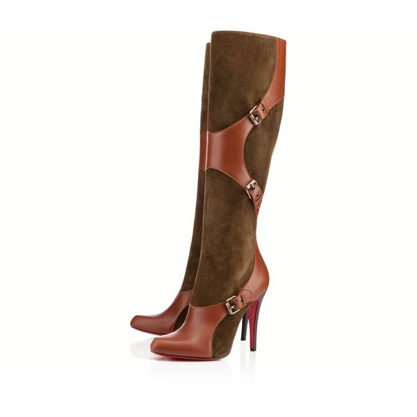 Christian Louboutin Canassone Botta ($1,745) ❤ liked on Polyvore featuring shoes, boots, christian louboutin, cognac, tall boots, cognac boots, high heel boots, cognac knee high boots and cognac leather boots