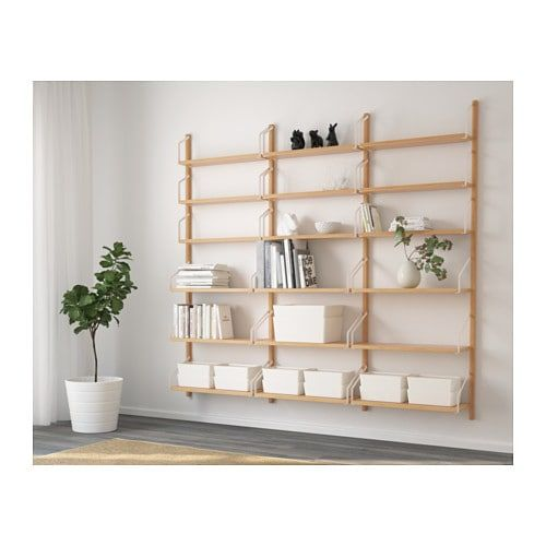 Ikea Svalnas Bamboo Wall Mounted Shelf Combination Our