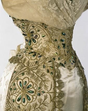 """Lace, embroidery and beetle wings.... 1892 - 1894 gown detail.. """"The panels were probably made in India where Madras and Calcutta were centres for beetle-wing embroidery made for the European market."""""""