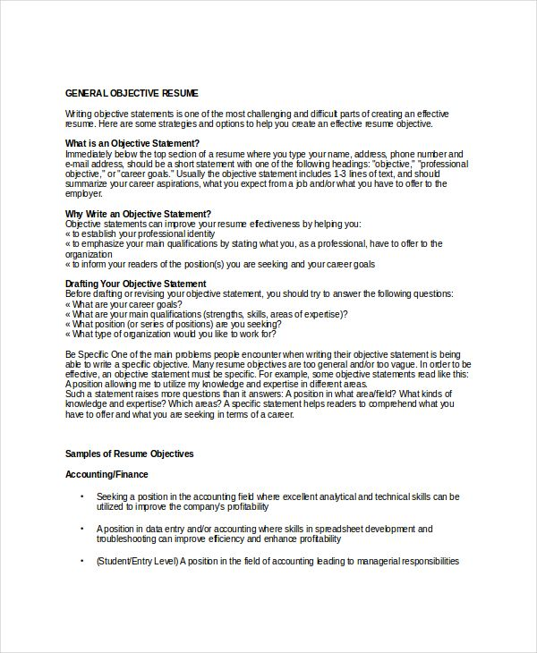 sample resume objectives free example format general objective - professional objective for a resume