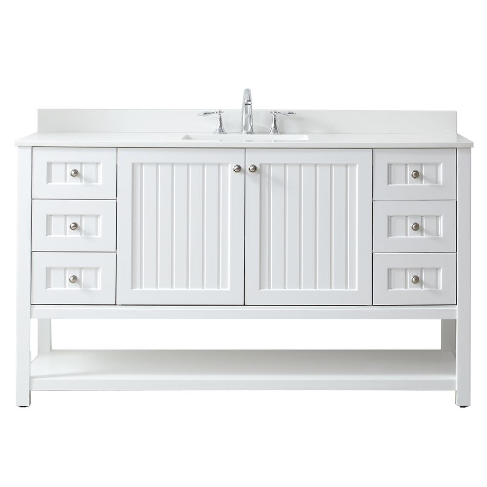 good 60 Inch White Vanity Top Part - 14: Martha Stewart Living Seal Harbor 60 in. W x 22 in. D Vanity in White with  Quartz Vanity Top in Pure White with White Basin