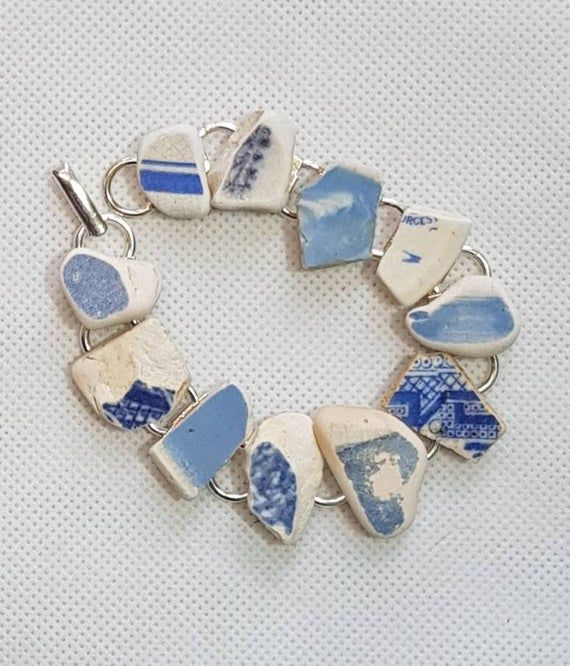 Irish sea pottery blue and white bracelet including vintage willow pattern. Beachcombing, mermaid