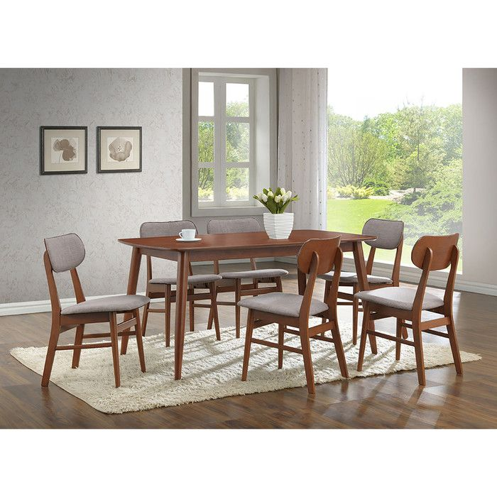 Baxton Studio Sacramento 7 Piece Dining Set Solid Wood Dining Chairs Faux Leather Dining Chairs Dining Table In Kitchen