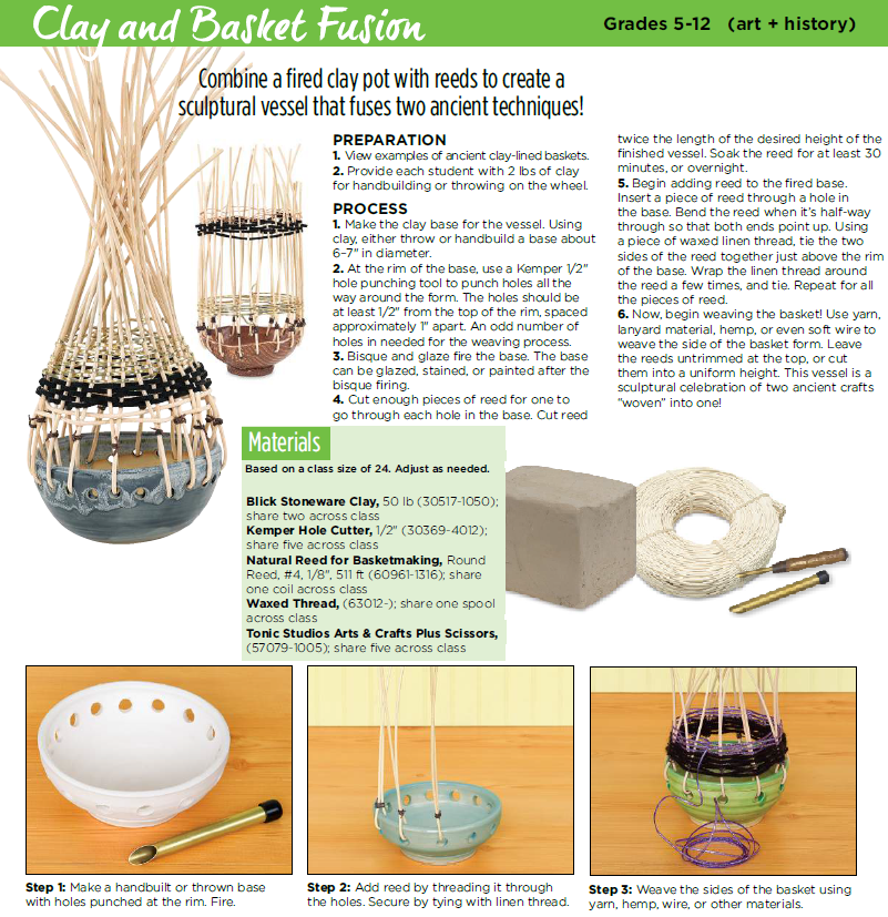 Clay and Basket Fusion: Combine a fired clay pot with reeds and ...