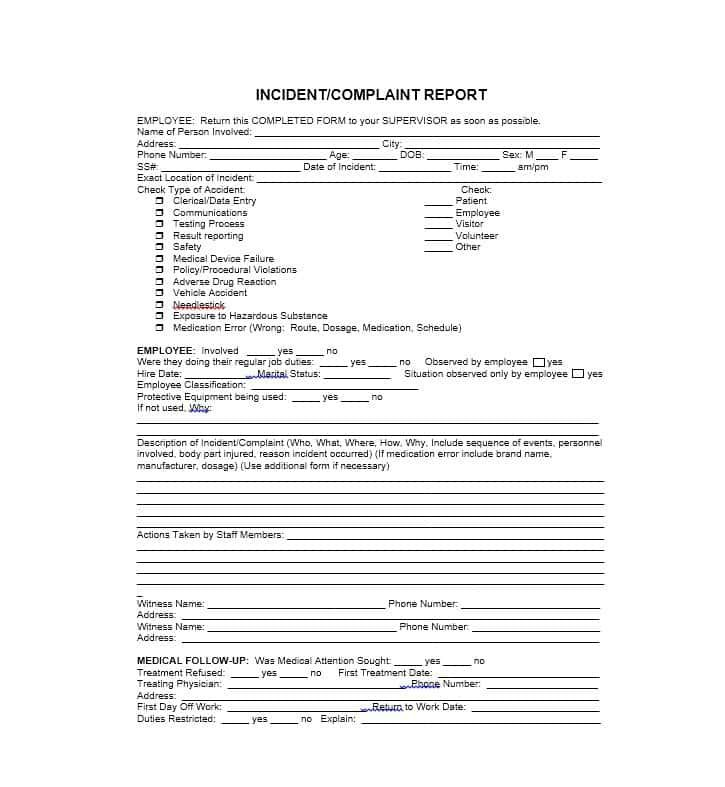 Injury Incident Report Template Captivating Generic Incident Report Template Check More At Http .