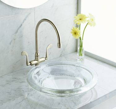Semi Recessed Glass Vessel Sink