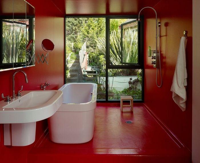 Rot im Badezimmer \u2013 21 Ideen mit intensiven Rottönen Haus Pinterest - wasserfeste farbe badezimmer