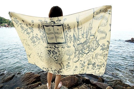 The Marauder's Map Hogwarts Harry Potter Scarf - Cream